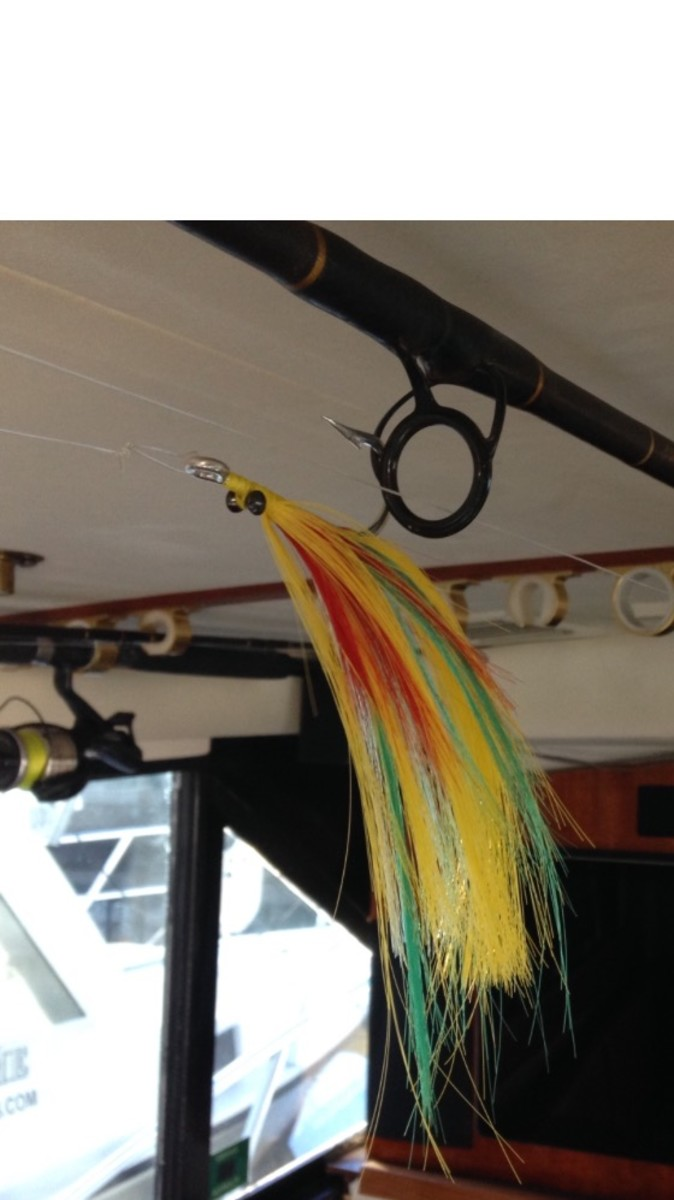 Trolling Dart hanging from the cabin of the Miller Time charter boat