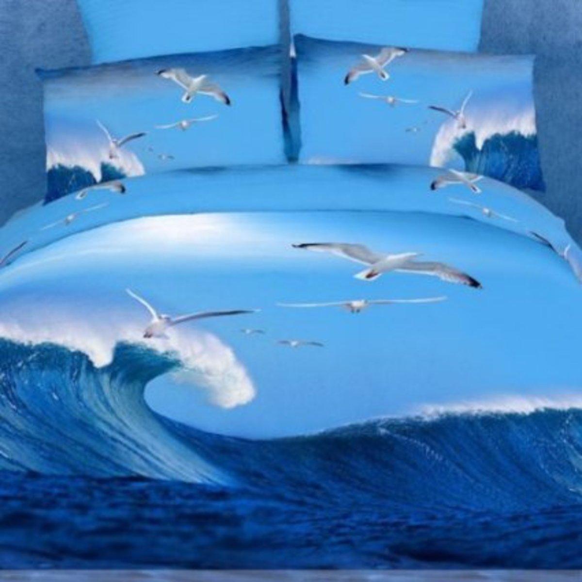 3-Piece Cobalt & Blue Duvet Bedding Set