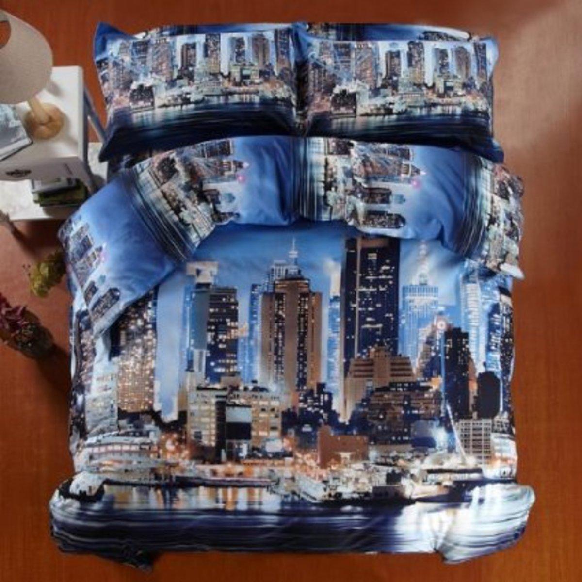 Cobalt Blue 3D Image Bedding