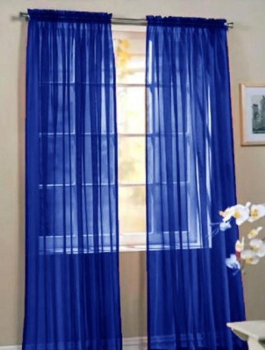 "60"" x 84"" Sheer Cobalt Blue Window Panels"
