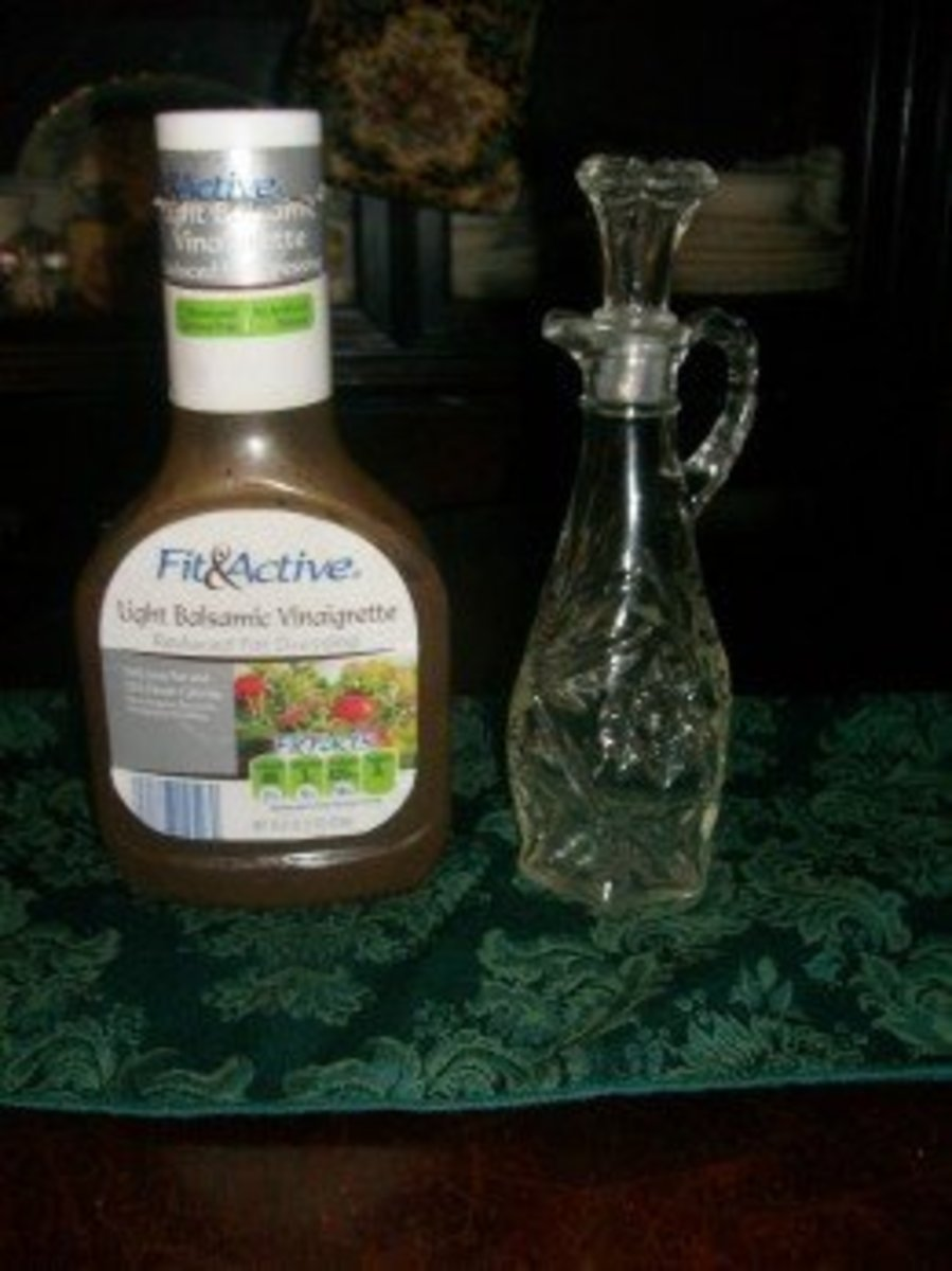I have used a very good balsamic vinaigrette from Aldi, as pictured to the left. But, also, I have used my lovely vinaigrette holder--pictured--to hold my homemade vinaigrette dressing.