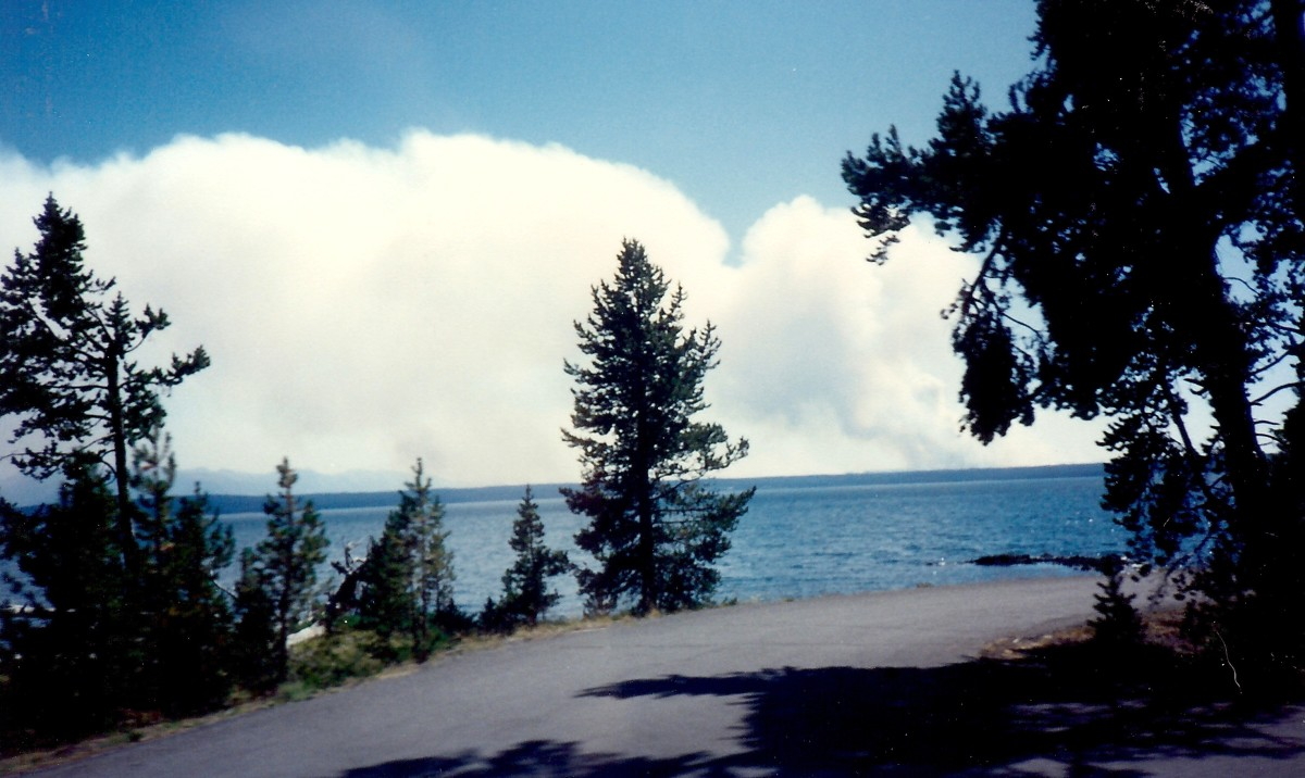 Yellowstone Lake blanketed with the smoke from forest fires that year.