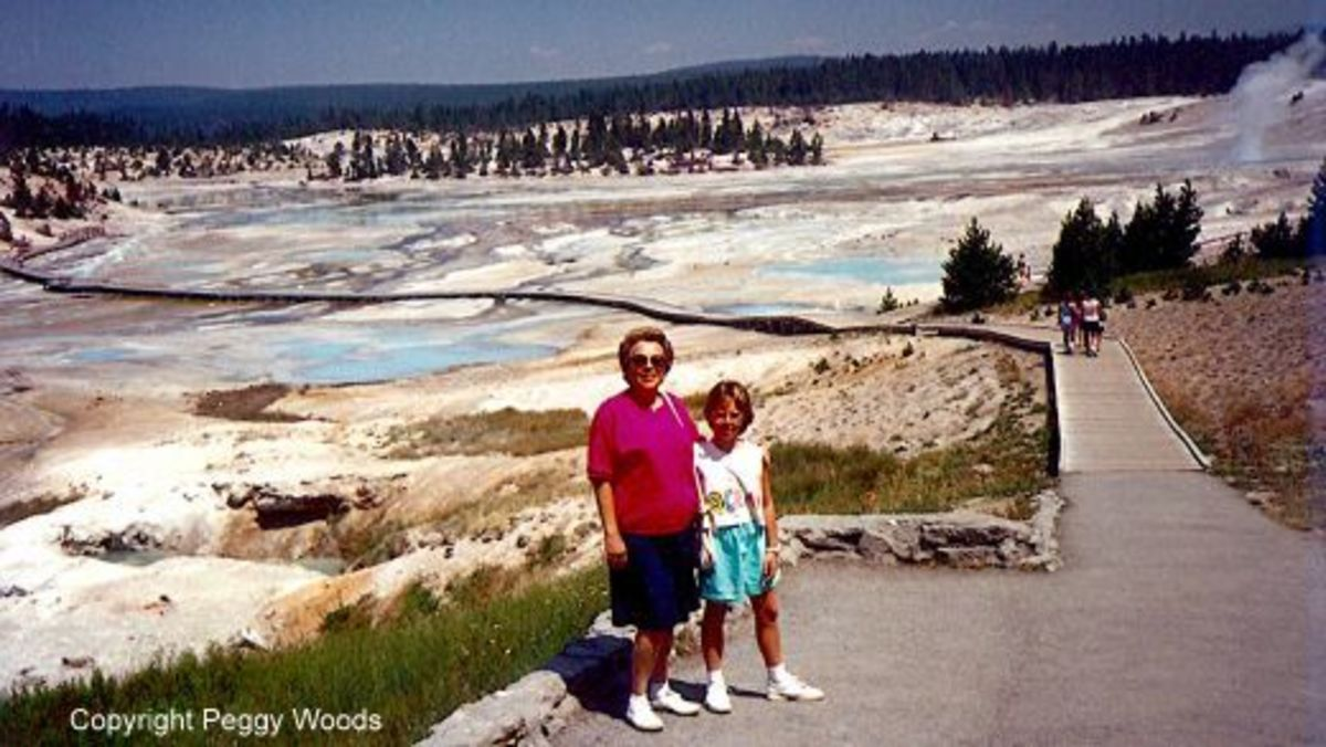 My mother and niece at the Fountain Paint Pots area.