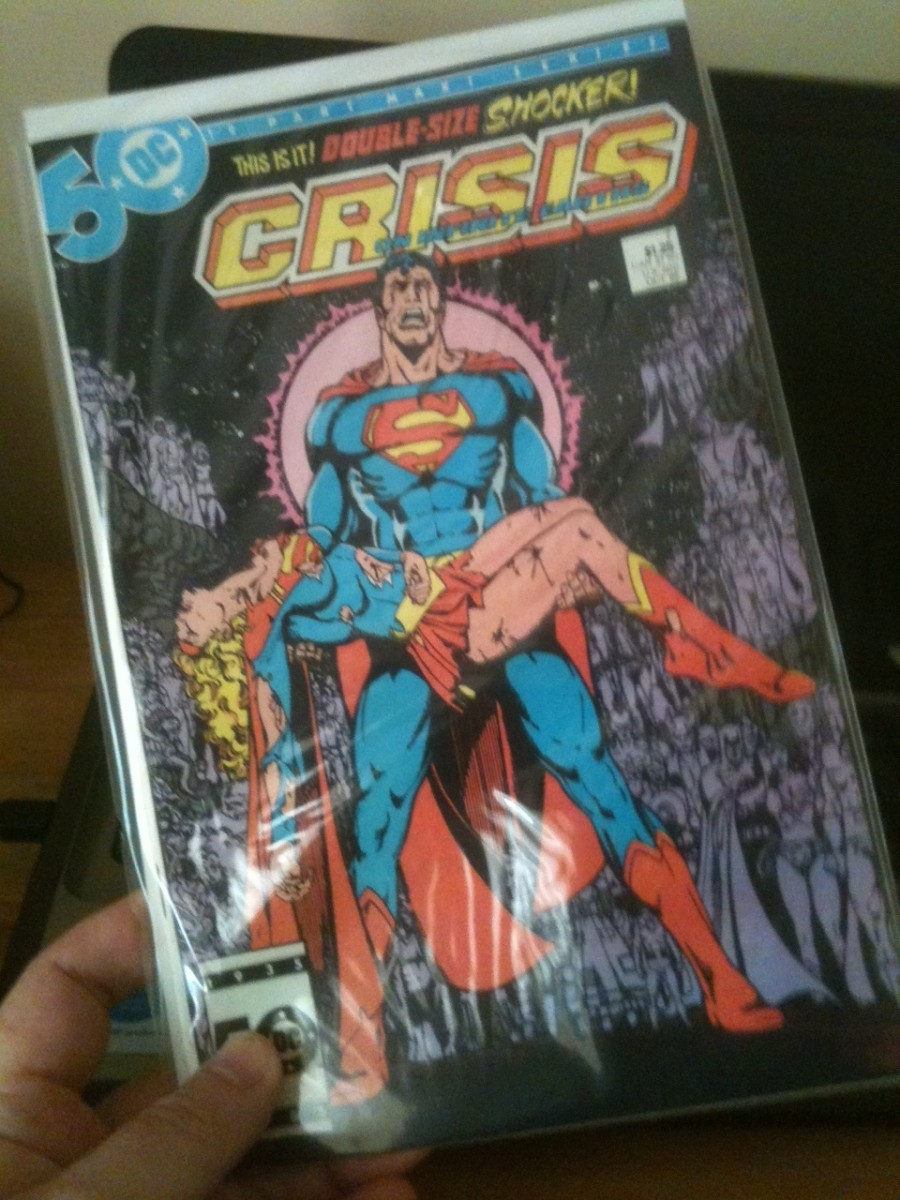 A shot of my Crisis on Infinite Earths #7 (Death of Supergirl).  Illustrated by George Perez