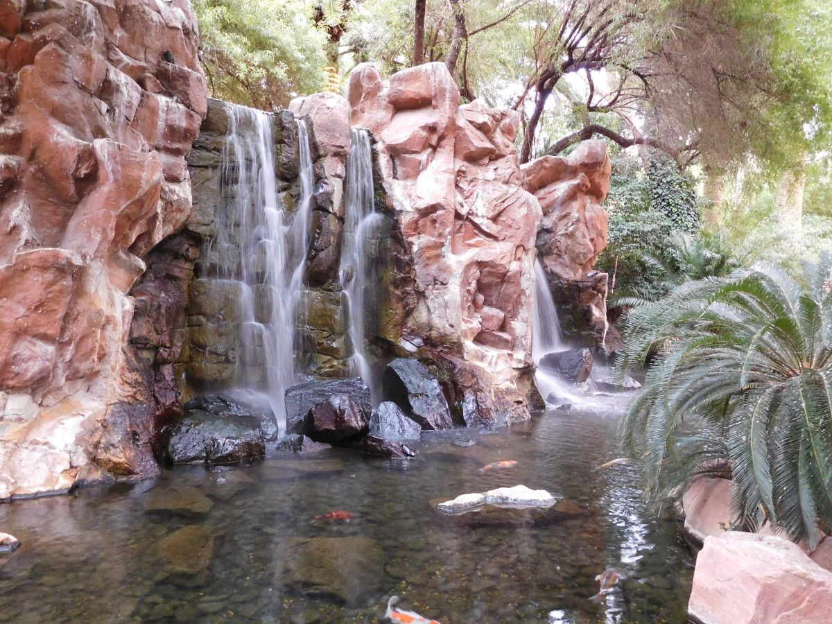 The waterfall area at the Flamingo Hotel in Las Vegas.