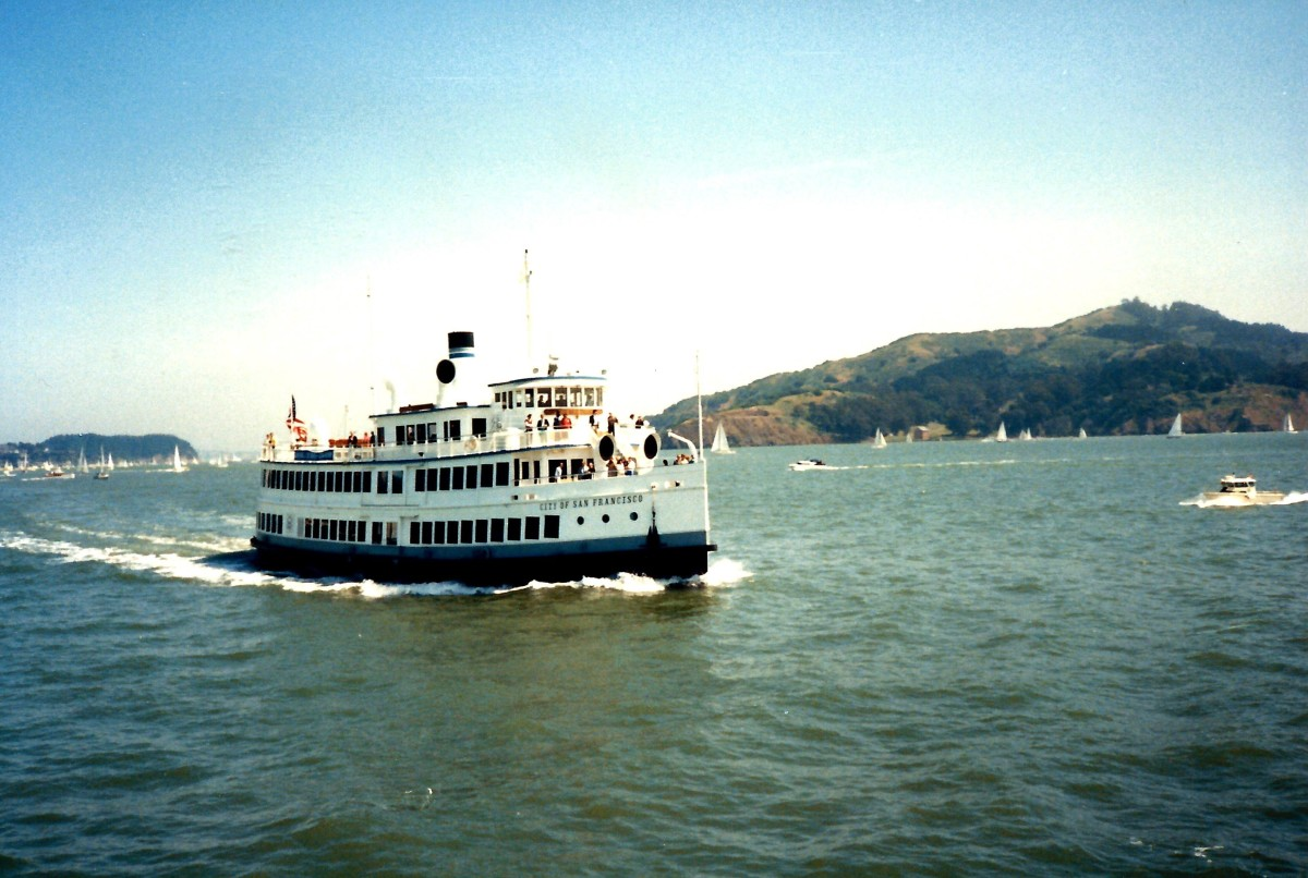 Looking towards a ferry on San Francisco Bay.