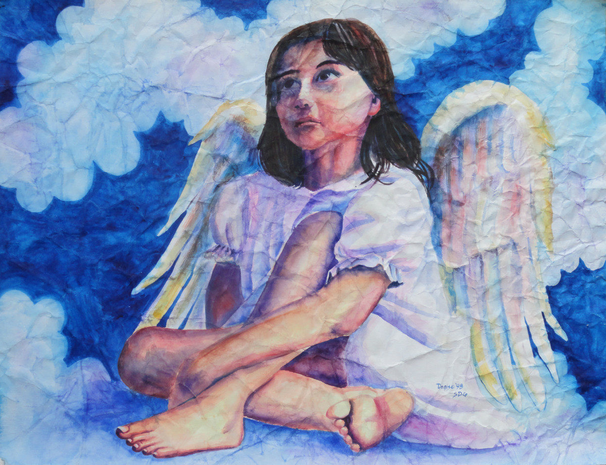 The model was a neighbor girl who posed for me.  I painted her as an angel.