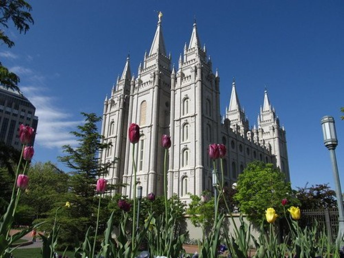 The Mormon Temple in Salt Lake City, Utah, the centre of Mormonism.