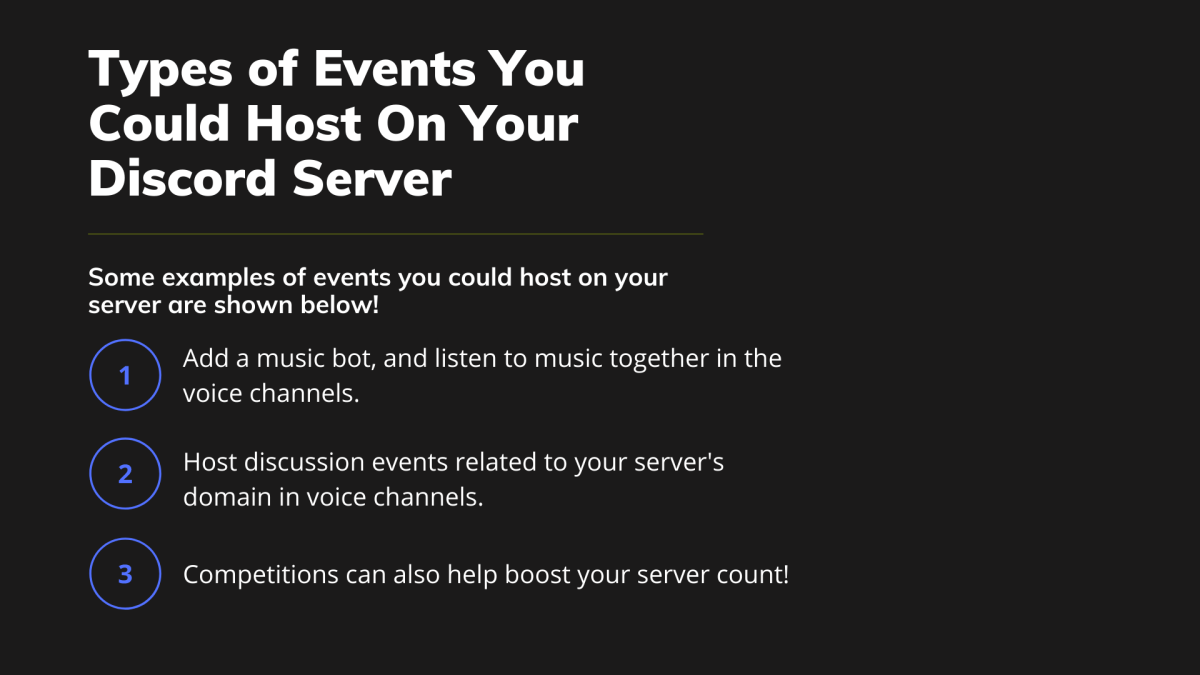 Some types of events you could host on your Discord server are shown here.