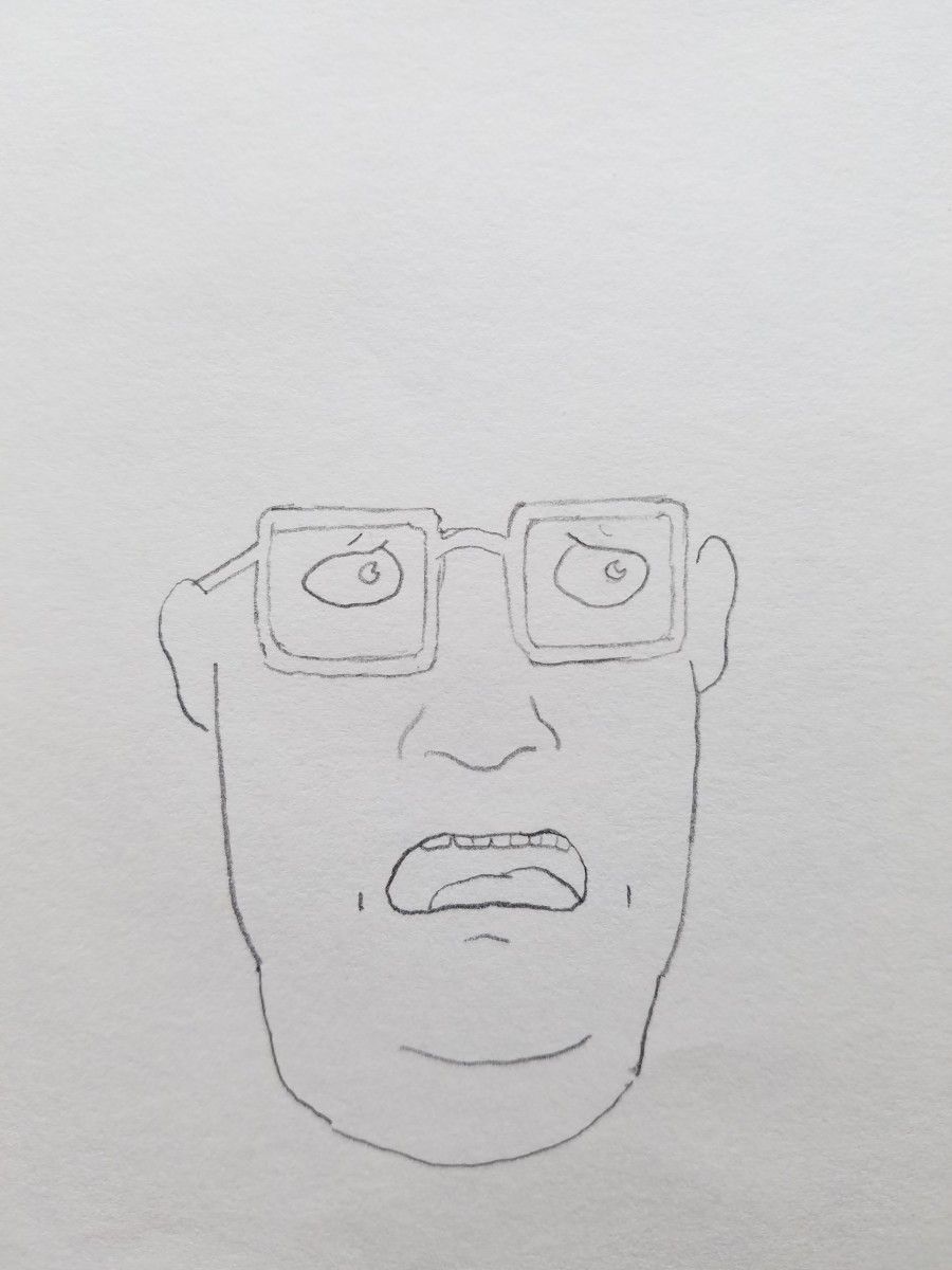 Bootleg Hank Hill head-shape, eyes, ears, sunglasses, lips, chin, and teeth. YOU ARE GETTING CLOSER TO BOOTLEG HANK HILL. From here you can start abstraction to your drawings.