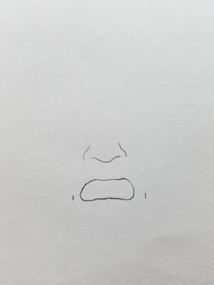 Create bootleg Hank Hill potato shaped mouth and dimples. Placed directly below the nose.