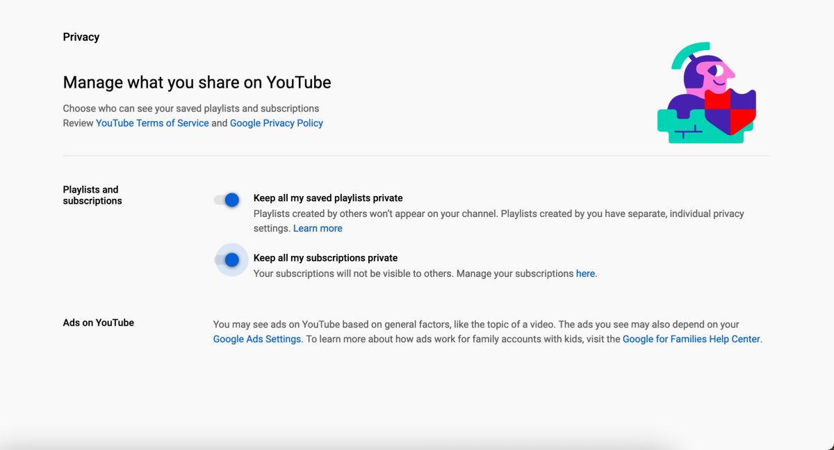 Changing privacy settings in YouTube