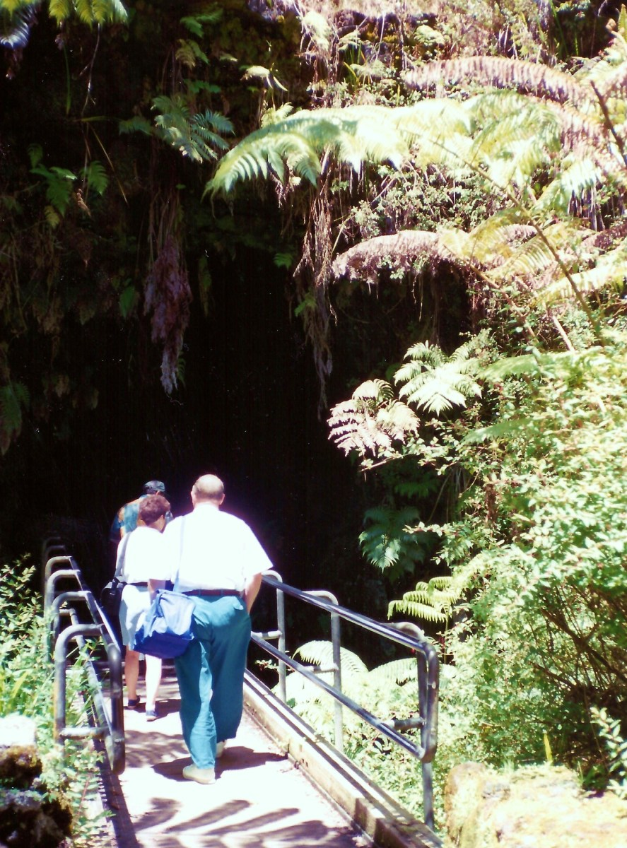 Entering the Thurston Lava Tube on Big Island of Hawaii