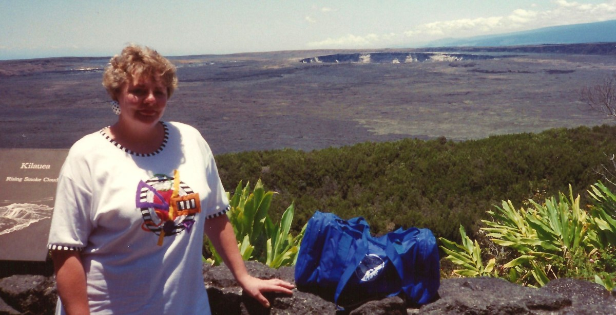 Me with Mauna Loa caldera in background * Photo taken by my husband