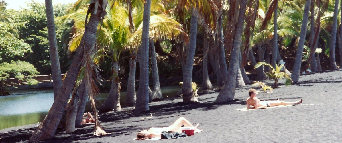 People sunbathing by a fish pond on that black sand beach  in Hawaii