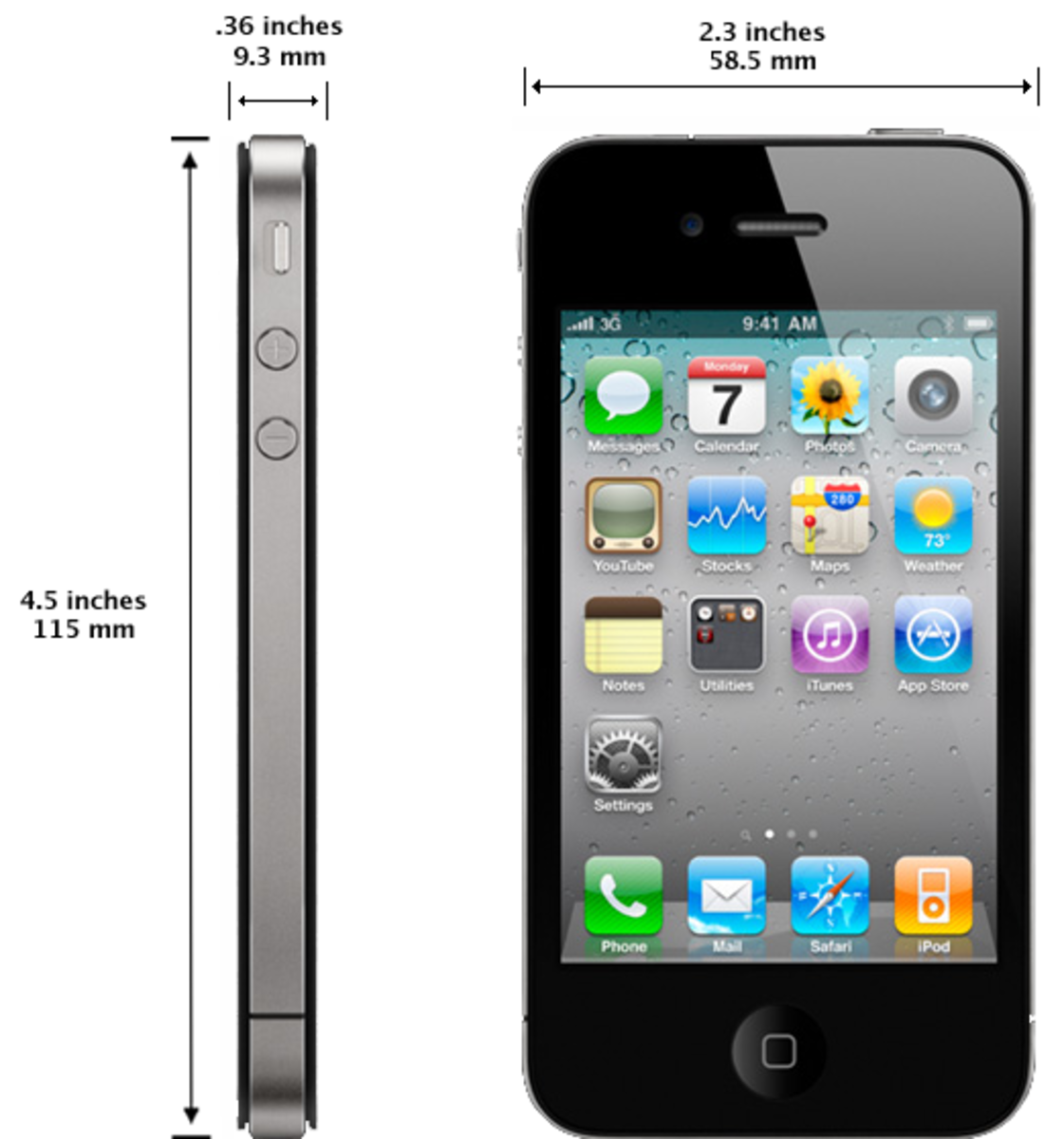 The iPhone 4 offers a flat front and back, two individual volume buttons and a stainless steel antenna that wraps around the device.