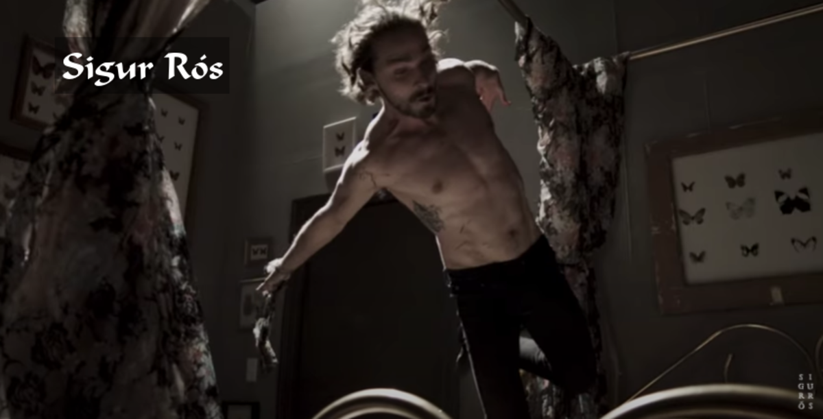 Shia LaBeouf in the Sigur Rós music video Fjögur píanó. The video is more than 8 minutes long. It's about a romantic relationship turning dysfunctional. Denna Thomsen also stars in the video. Two music videos were released for this song.