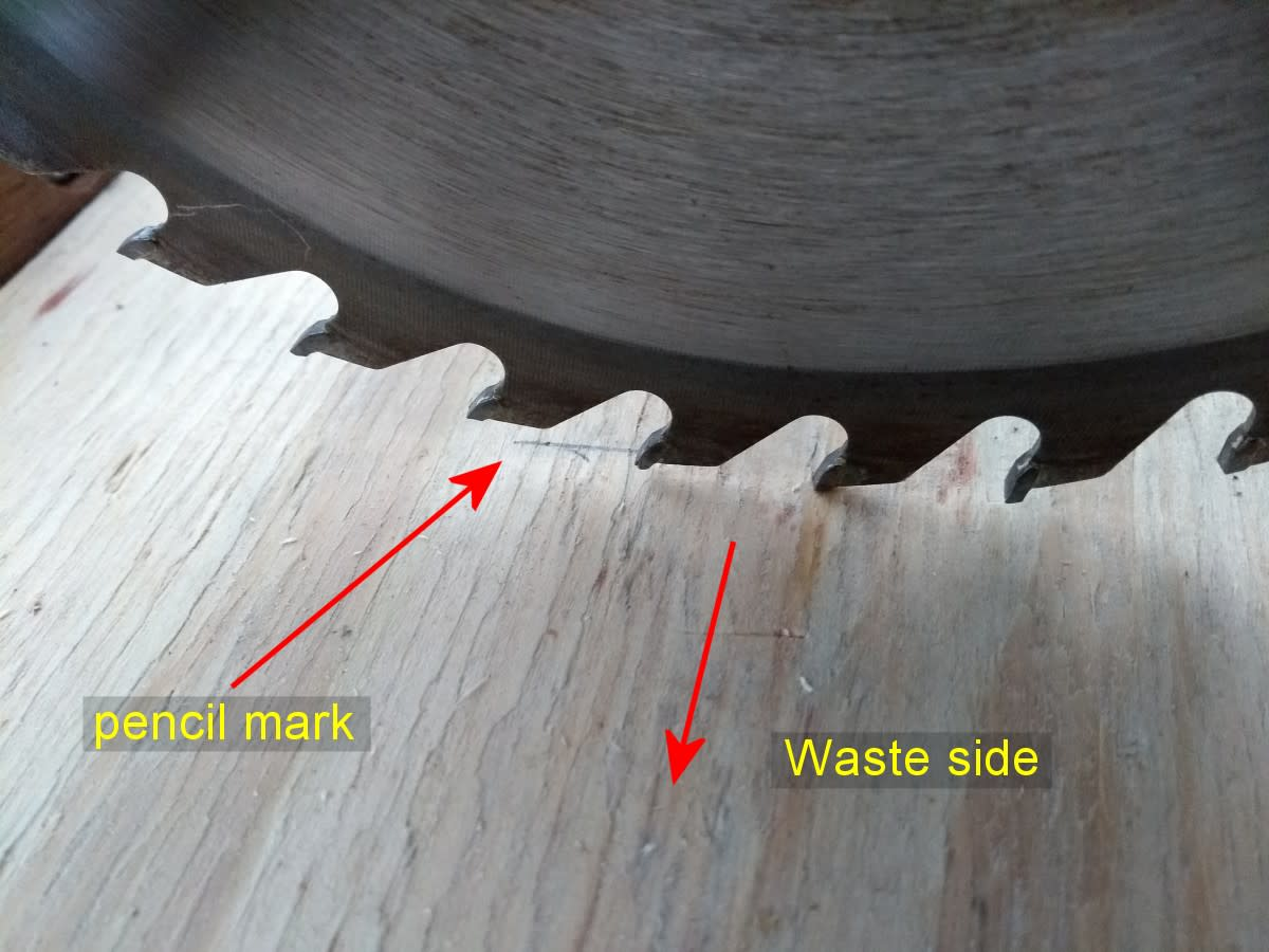 "The kerf or cutting width of the teeth on a mitre saw is about 1/8"" or 3mm. Cut on the waste side of the pencil line for more accurate results."