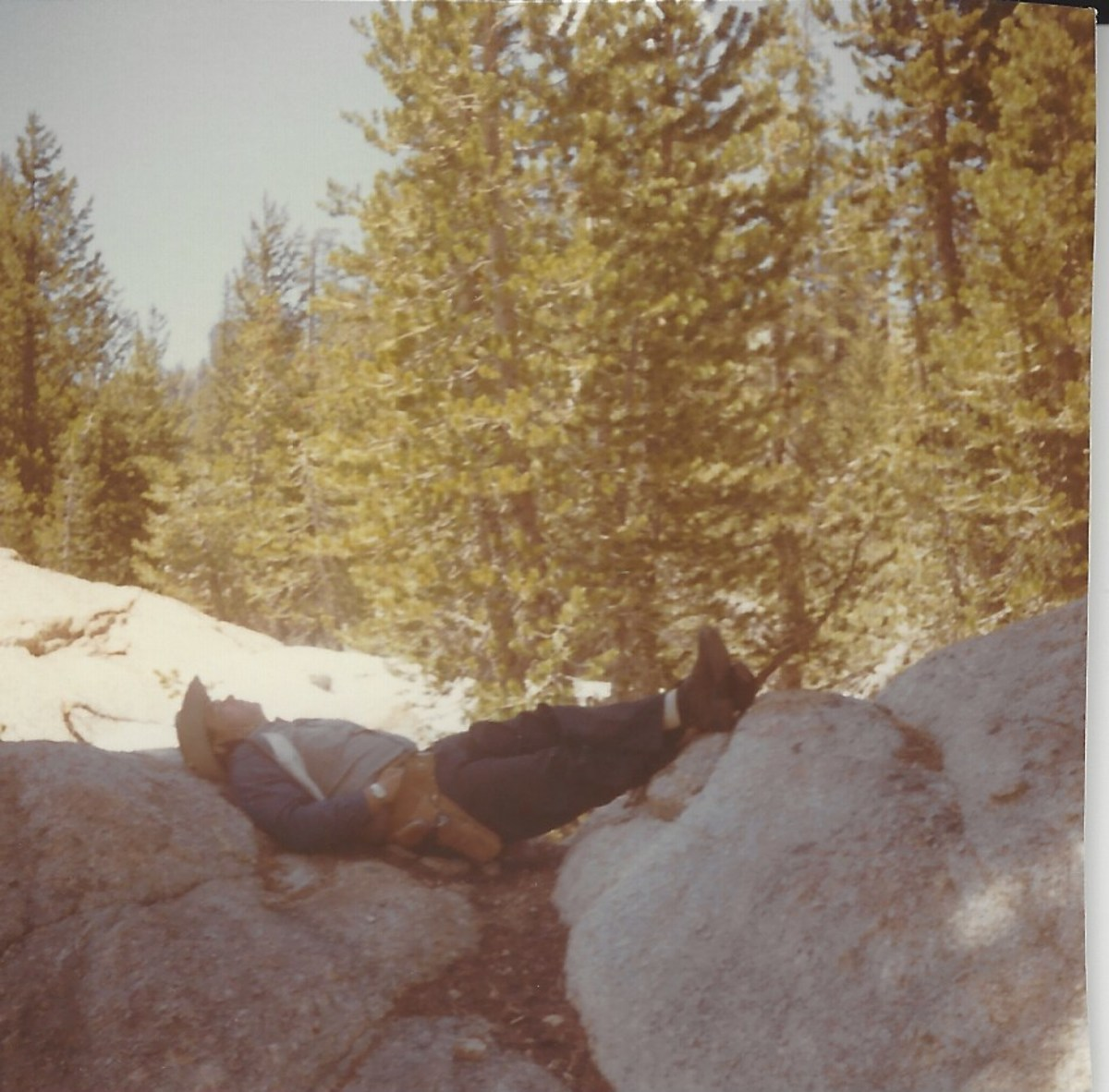 Dad relaxing on one of his hunting trips