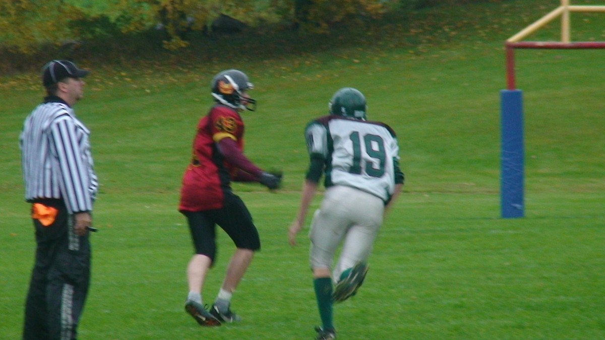 My oldest son (19) as wide receiver playing junior high school football.