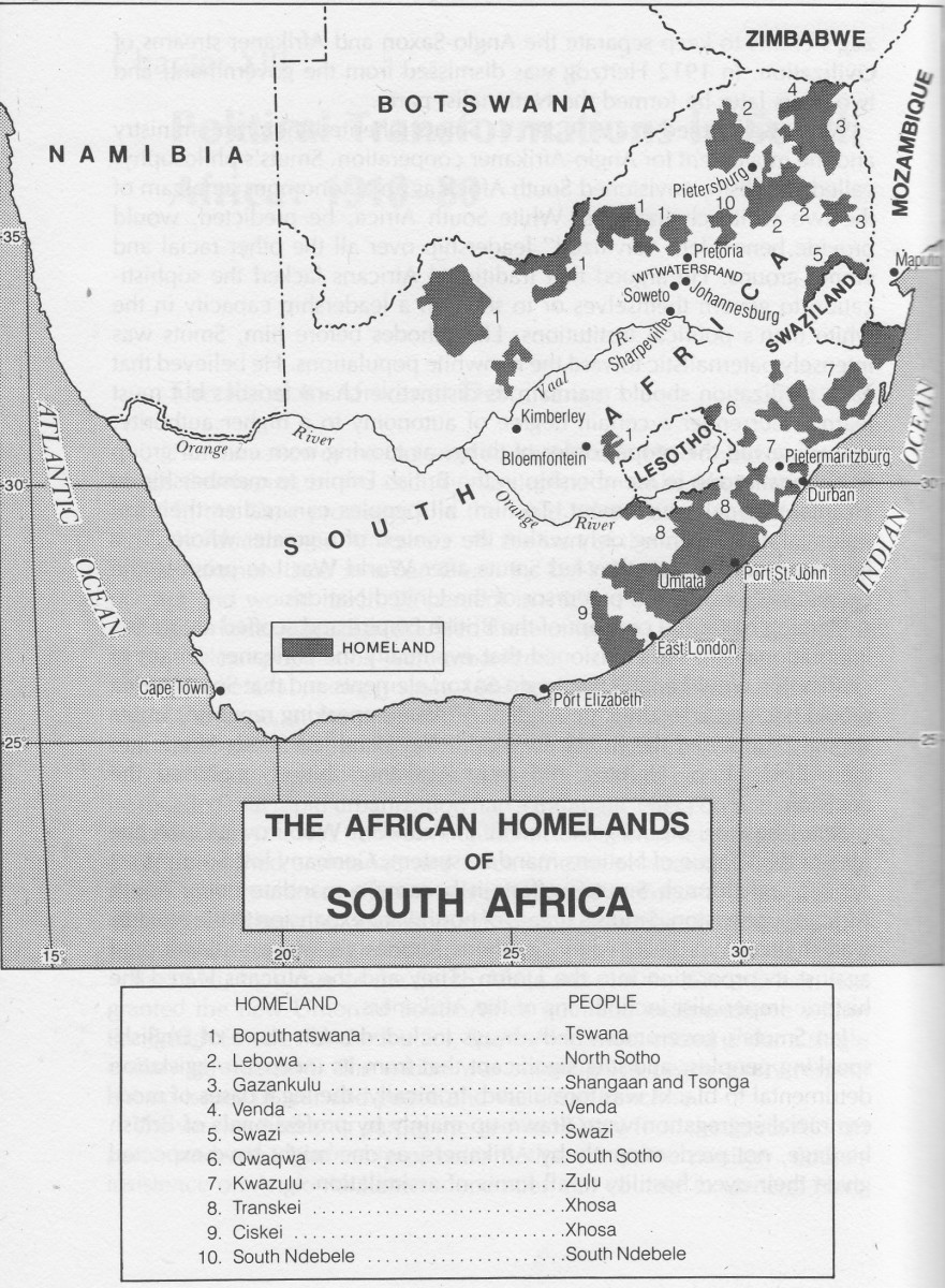 Map showing the Homelands as designed by the Apartheid regime dotting the landscape of South Africa