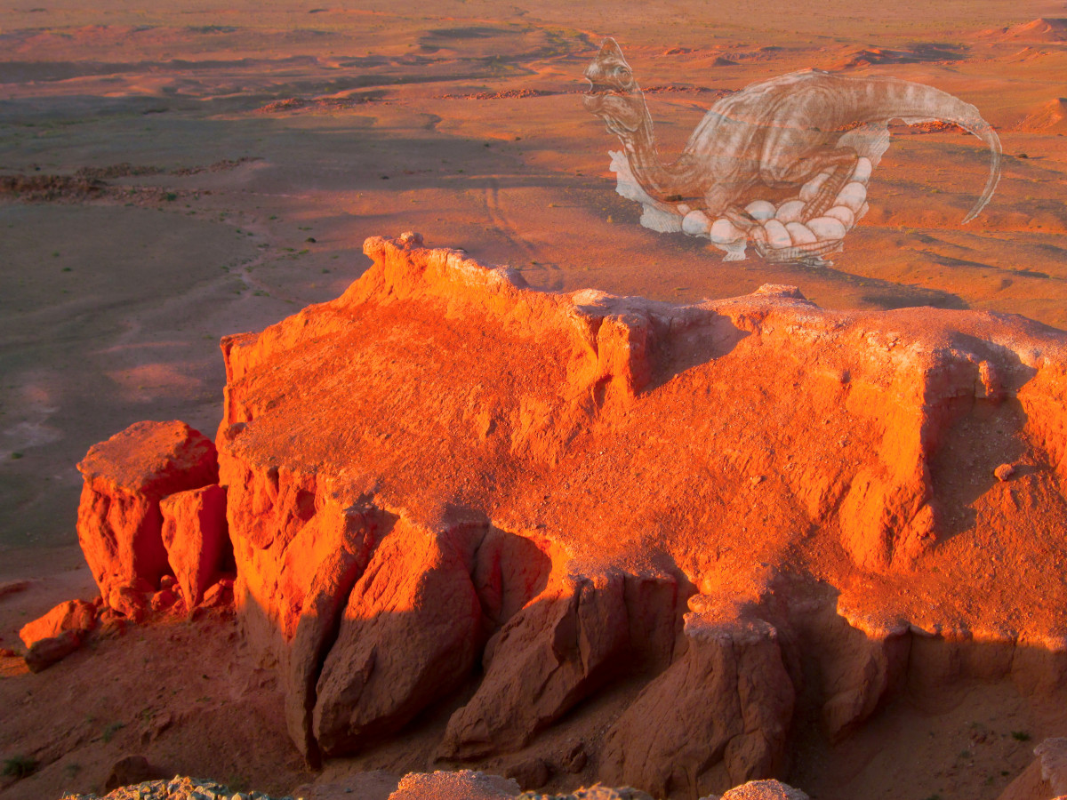 Flaming Cliffs in the Gobi Desert with superimposed image of an Ovirapotor Dinosaur on a Clutch of Eggs