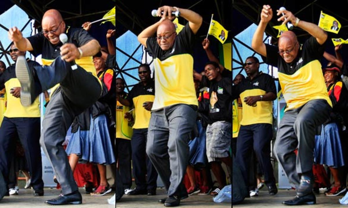 "The President of south Africa, Jaacob Zuma, doing an ""Indlamu"", Zulu traditional Dance, during his run for election. He still is trying to clear the mess - people are looking at him and hope for change."