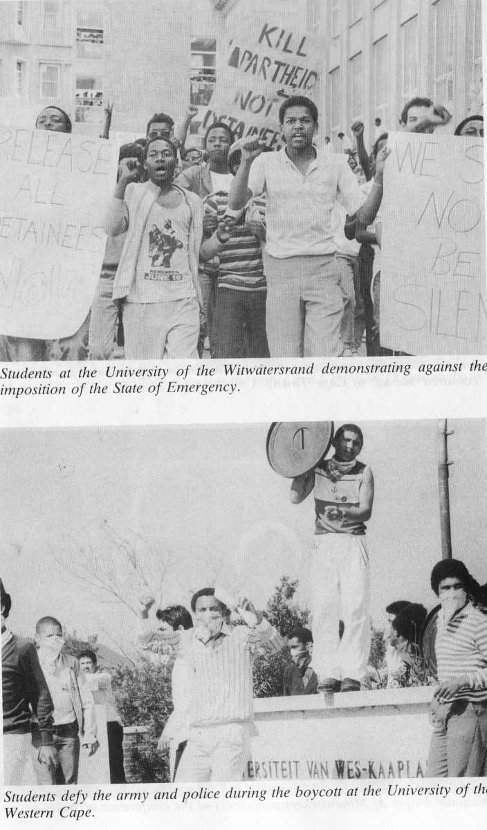 Students from a white University,Wits, in Johannesburg and below, Colored students in the University of Cape Town demonstrating against the state of emergency