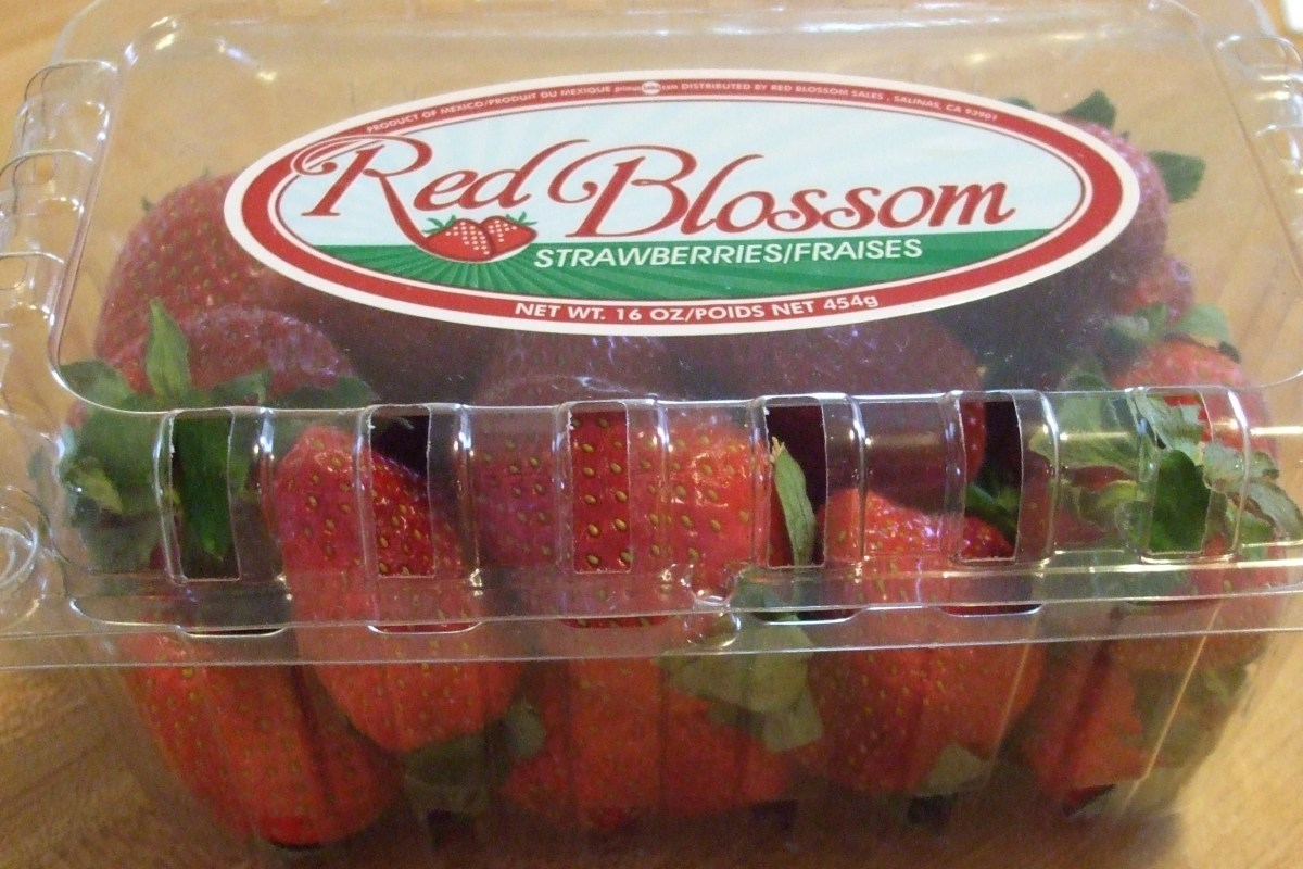 Strawberries in a box.