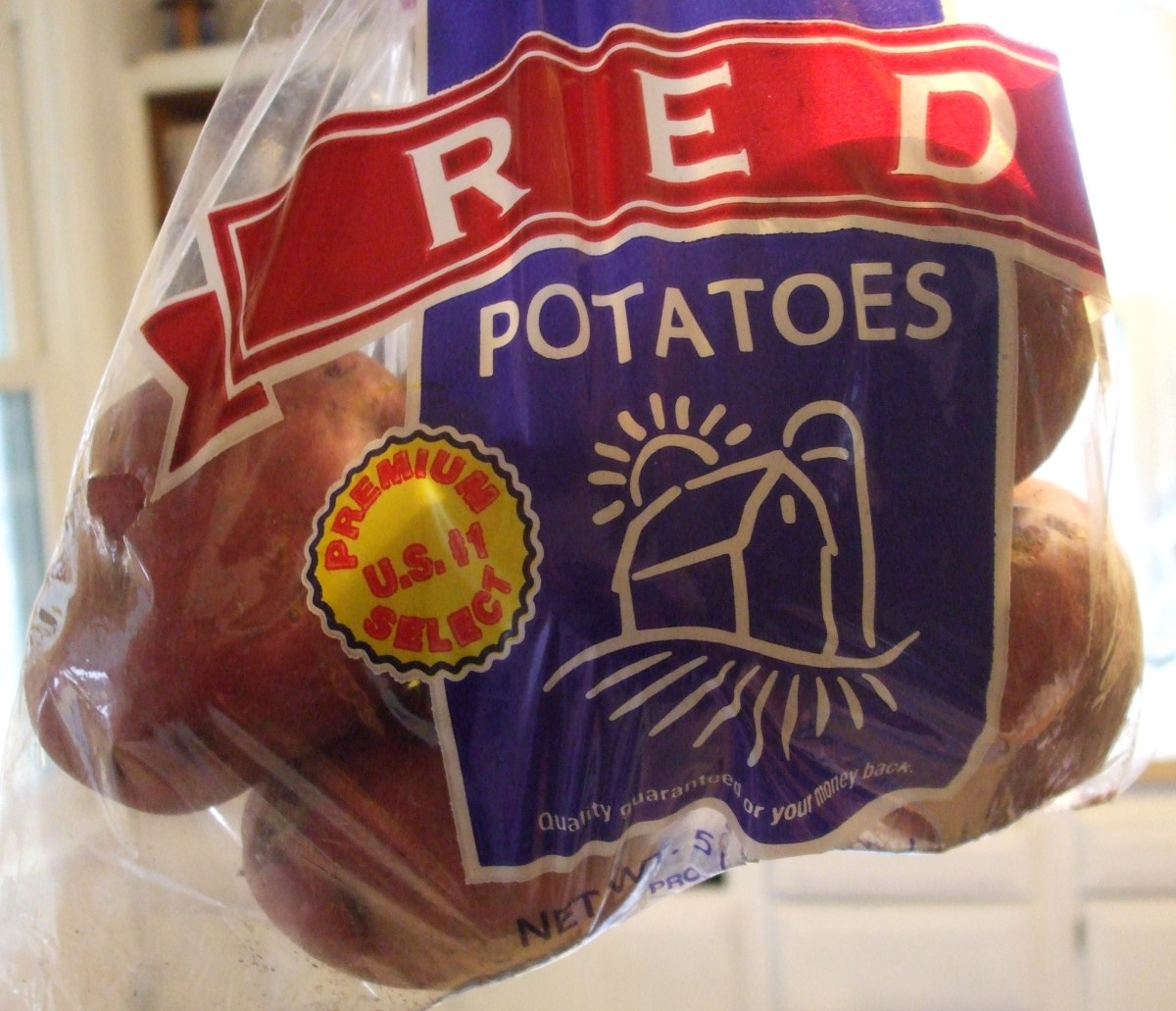 A bag of red potatoes.