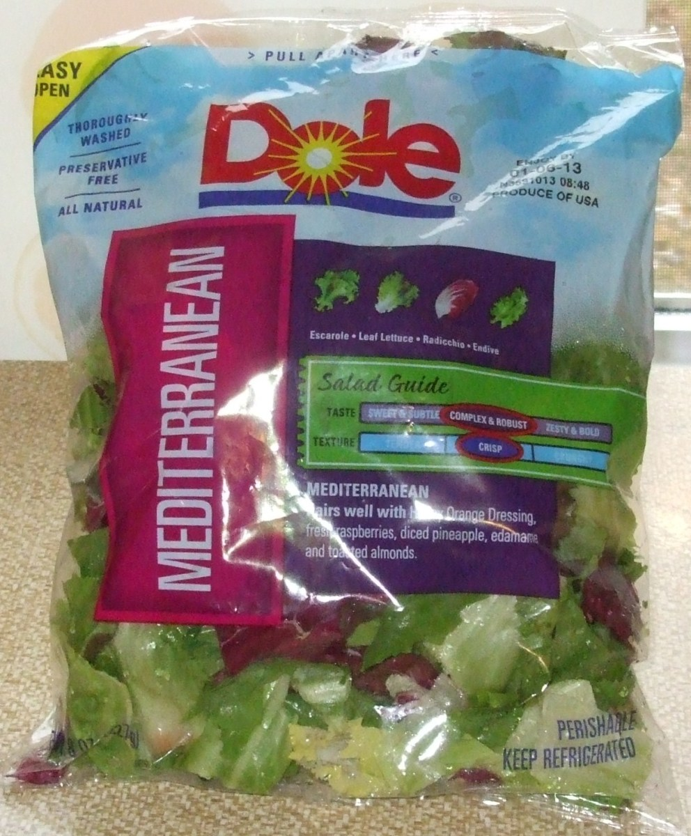 A bag of pre-washed mixed salad greens.