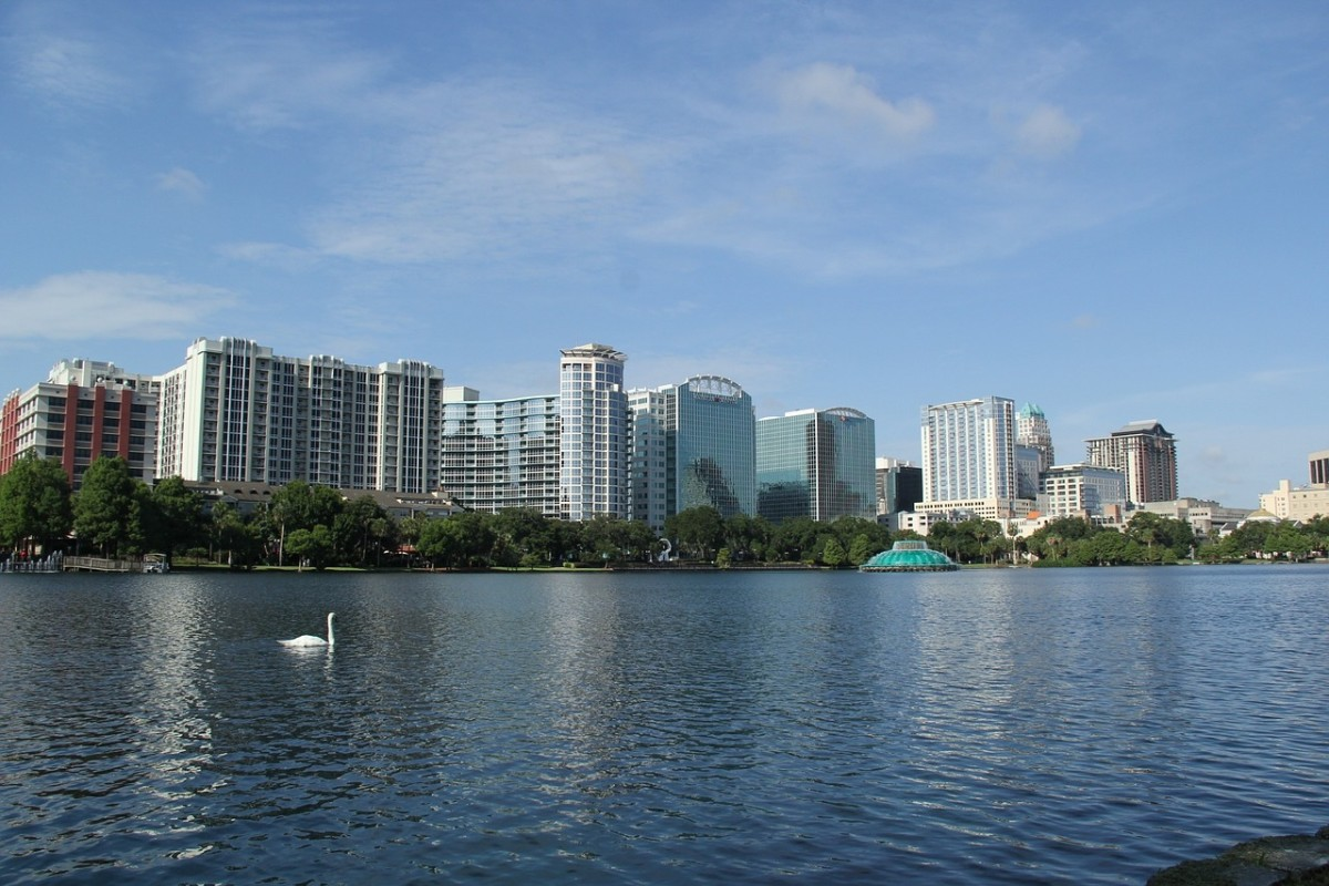 This is Lake Eola. Notice the swan.