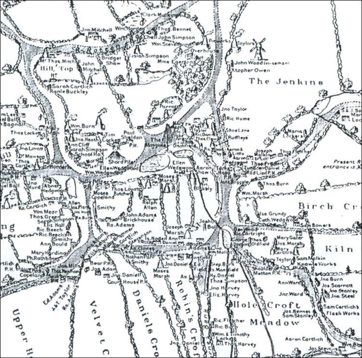 A Map of Burslem in 1750