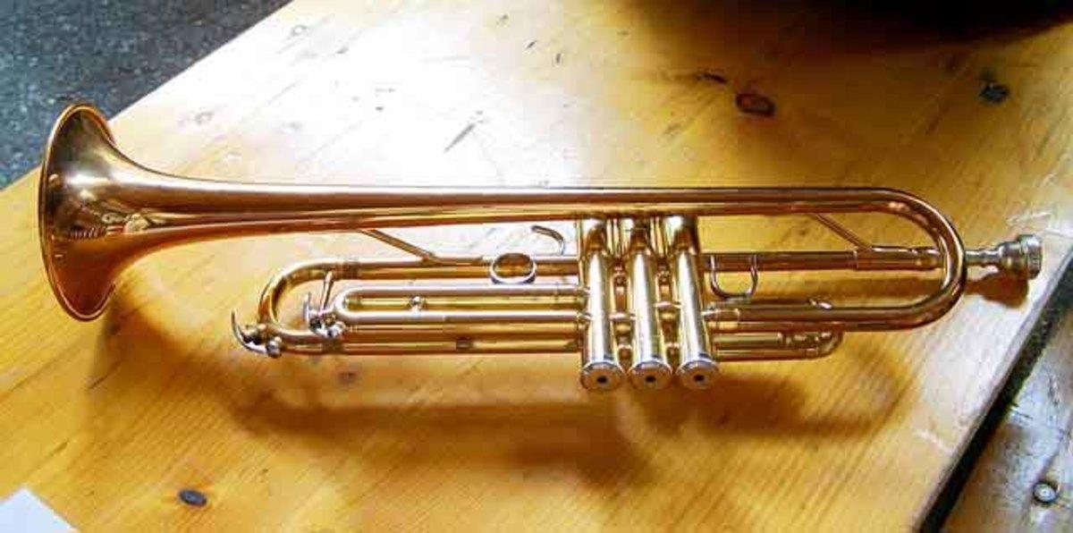 A brass trumpet.