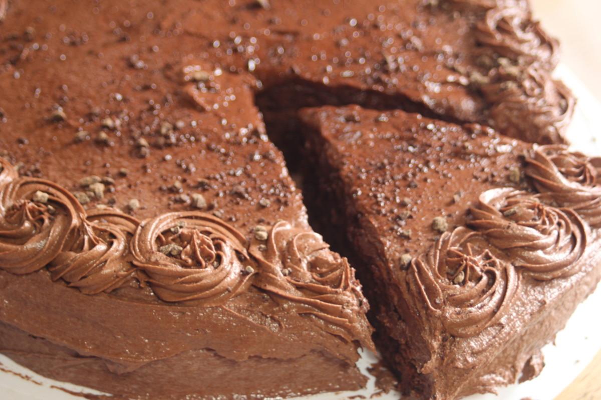 Vegan triple chocolate cake