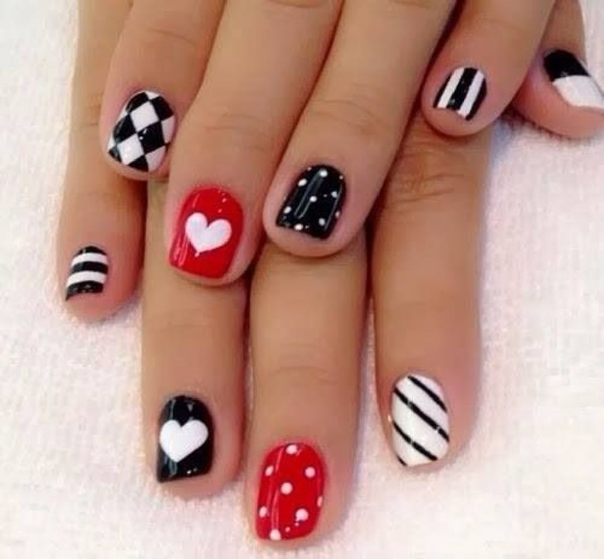 Red, black, and white nails