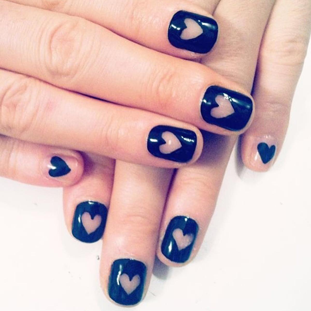Heart cutout nails