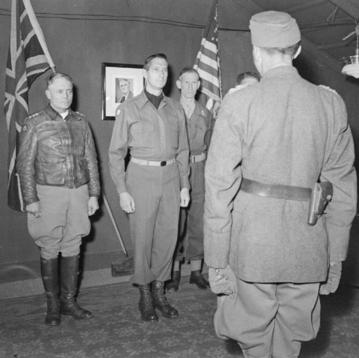 It's over - Lt. General Fridolin von Senger und Etterlin, the commander of XIV Panzer Corps, meets Clark, Lieutenant General Sir Richard McCreery and Truscott. at 15th Army Group Headquarters,