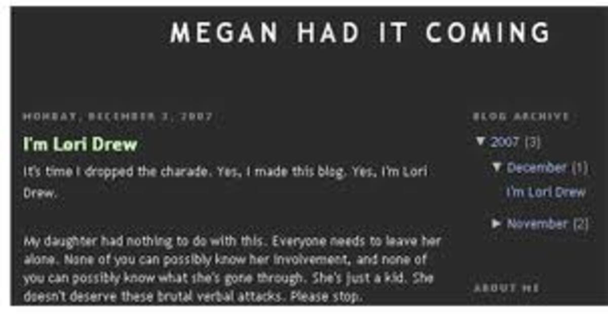 Someone who claimed to be Lori Drew posted this website after her death