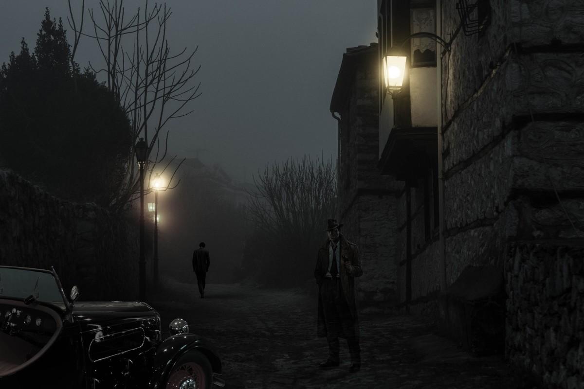 Fantasy Alley Historic Center Night Dark Lamps