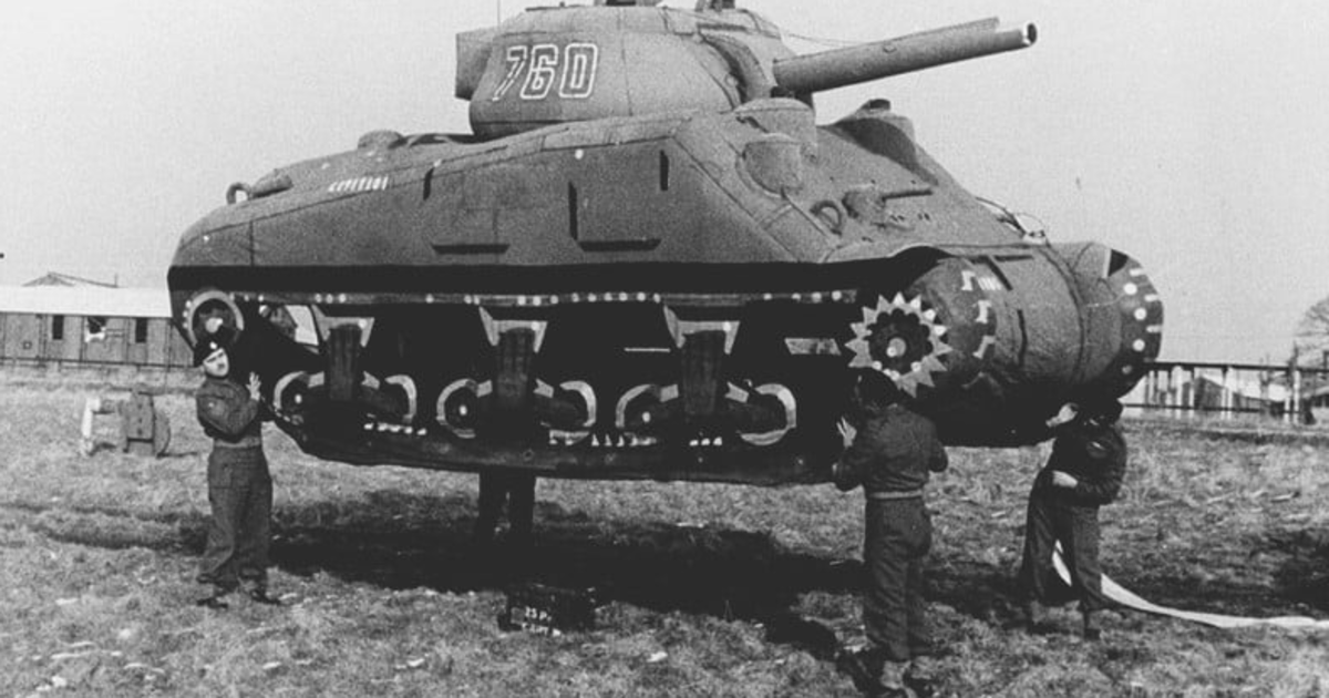 "Altering the enemy's perception is an age old tactic in warfare. An inflatable ""ghost army"" tank used by the allies during WWII."