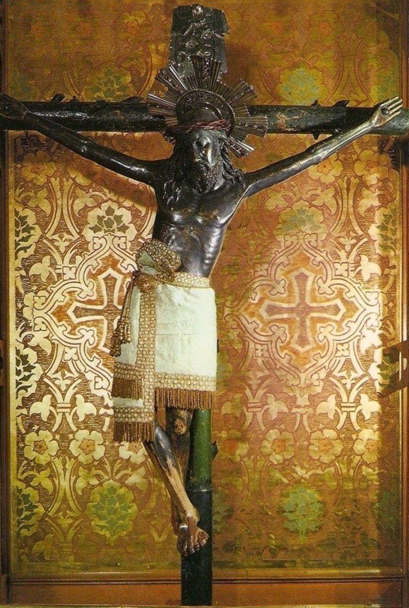 Closeup of the sacred crucifix.