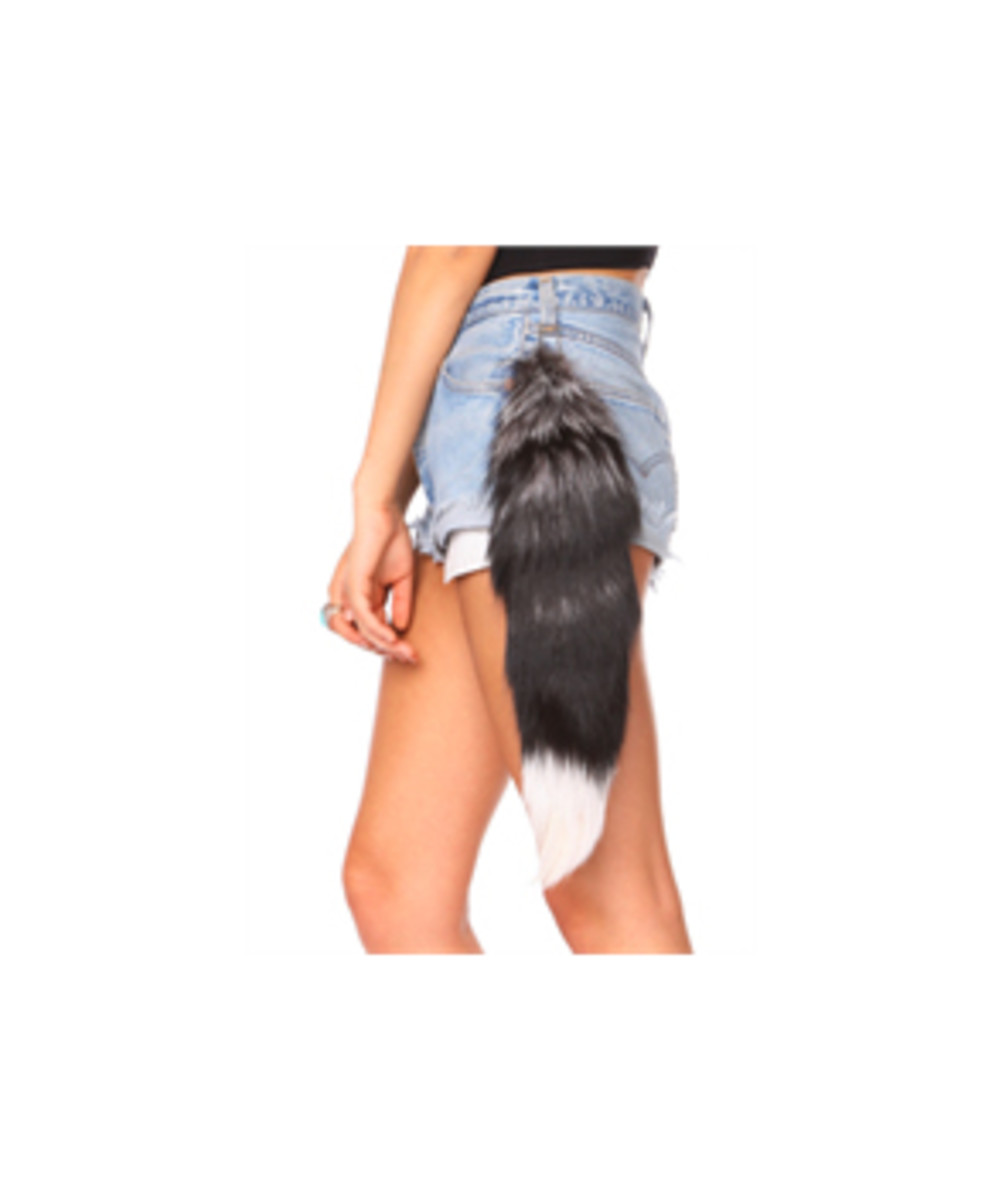 Fox Tails are now fashionable and are worn on the hip or on a purse. While the trend is becoming bigger, I still think they should be worn where a tail should traditionally be found.