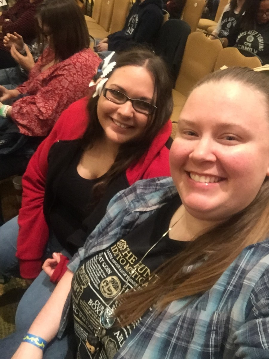 "Me and the best friend who introduced me to Supernatural, attending the ""Salute to Supernatural Convention"" in Jacksonville, FL, 2016."