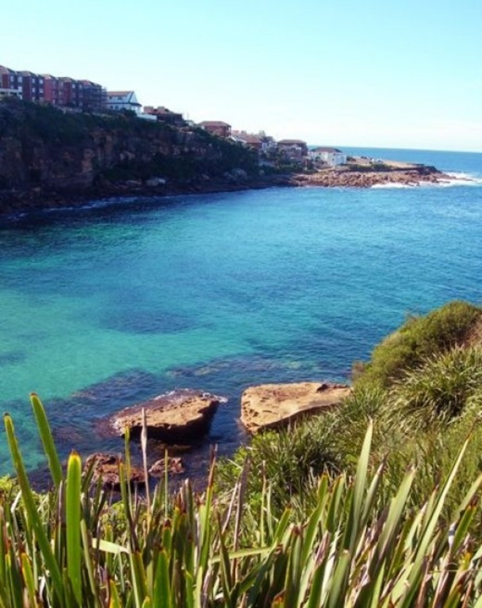 Part of the track between Bondi and Bronte Beaches