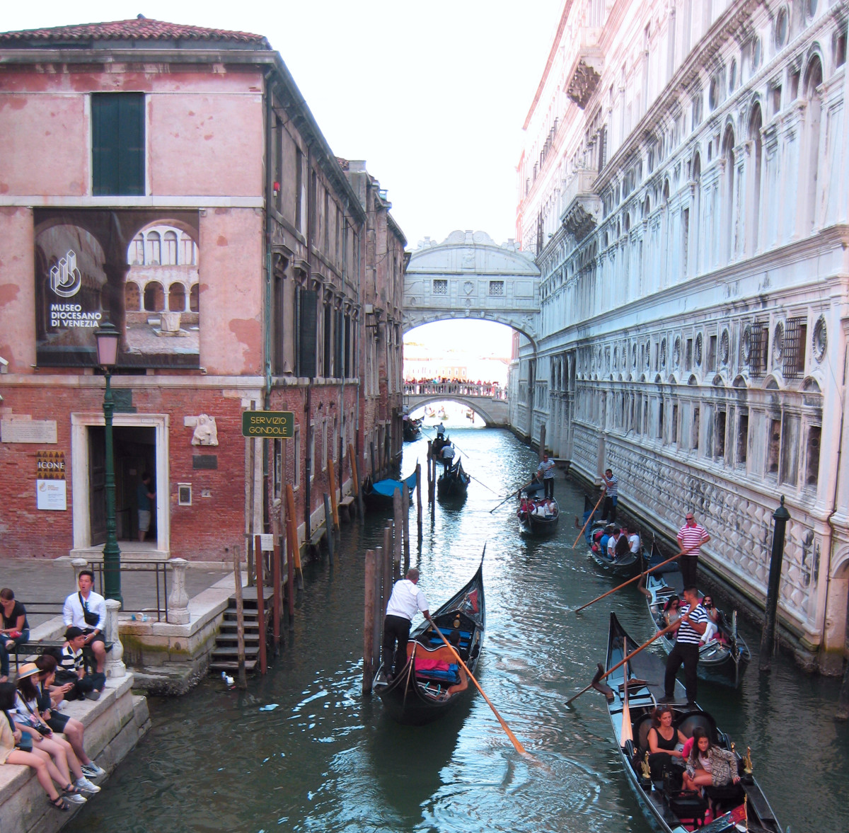 View of the Bridge of Sighs from the opposite side of the canal.