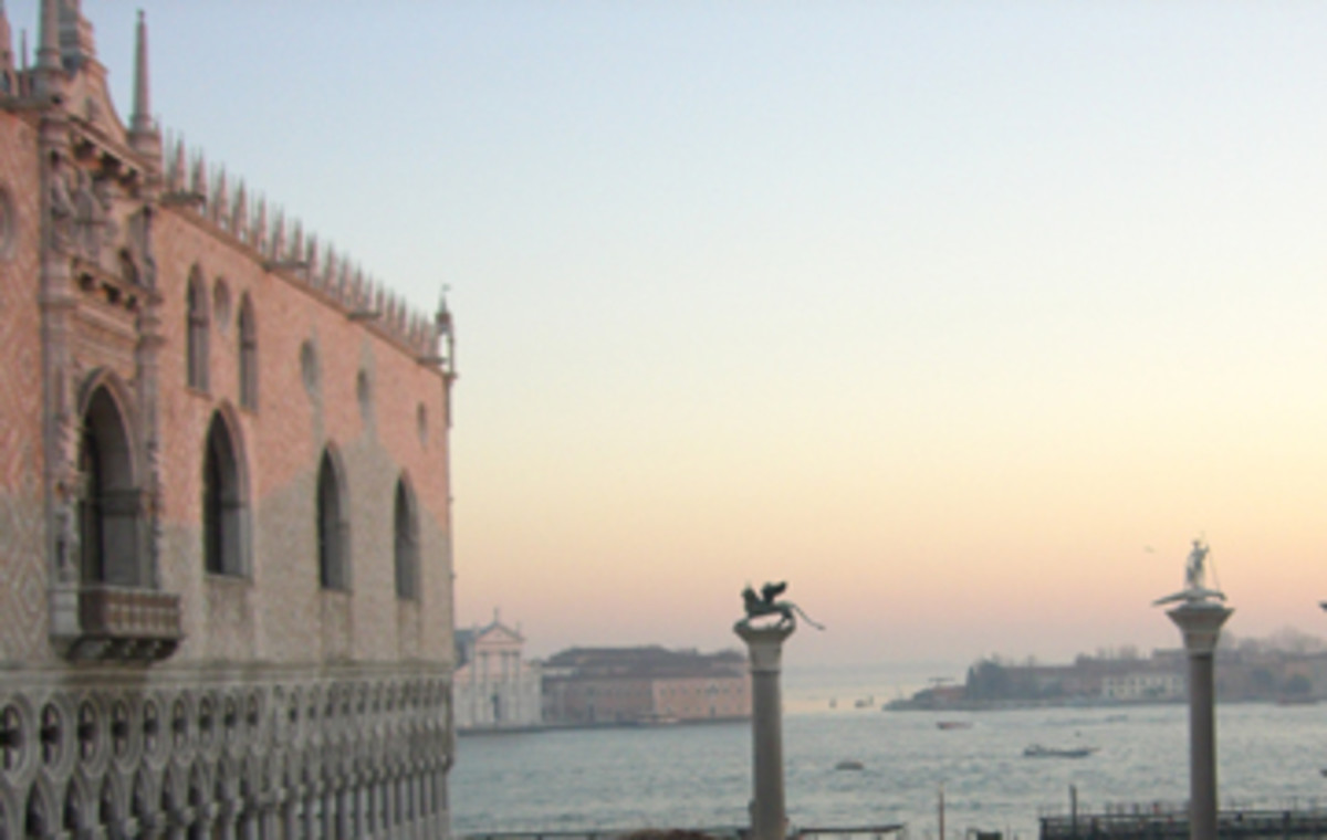 View from the terrace of St Mark's Basilica at sunset.