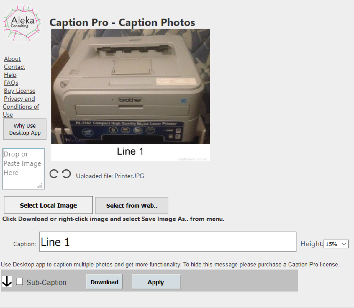 Caption Pro Web interface showing Caption only