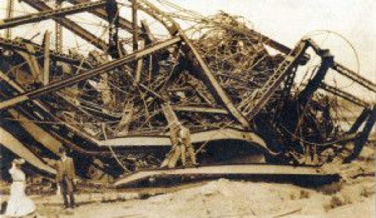 Remains of original Ferris Wheel after being destroyed