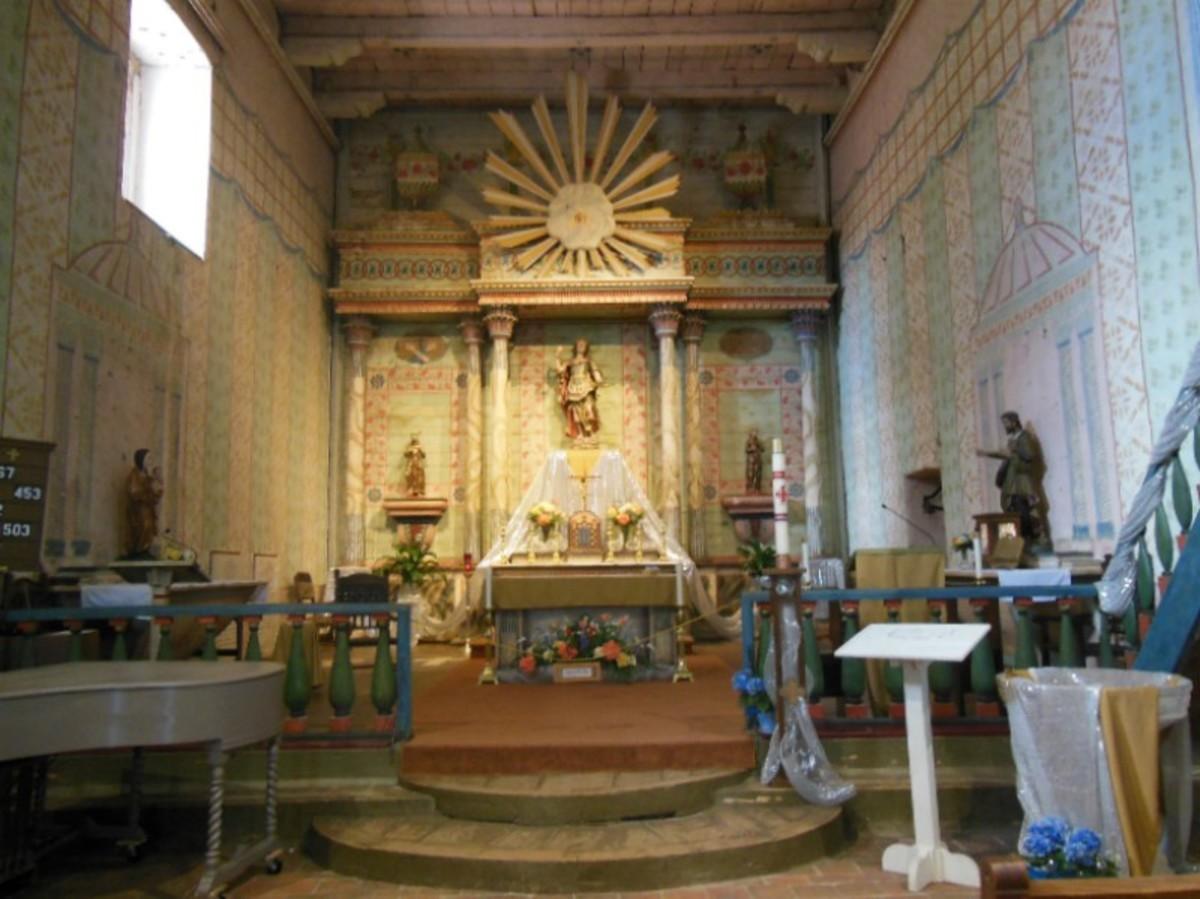 Restored Mission Church, San Miguel, California, interiior, May 15, 2015.